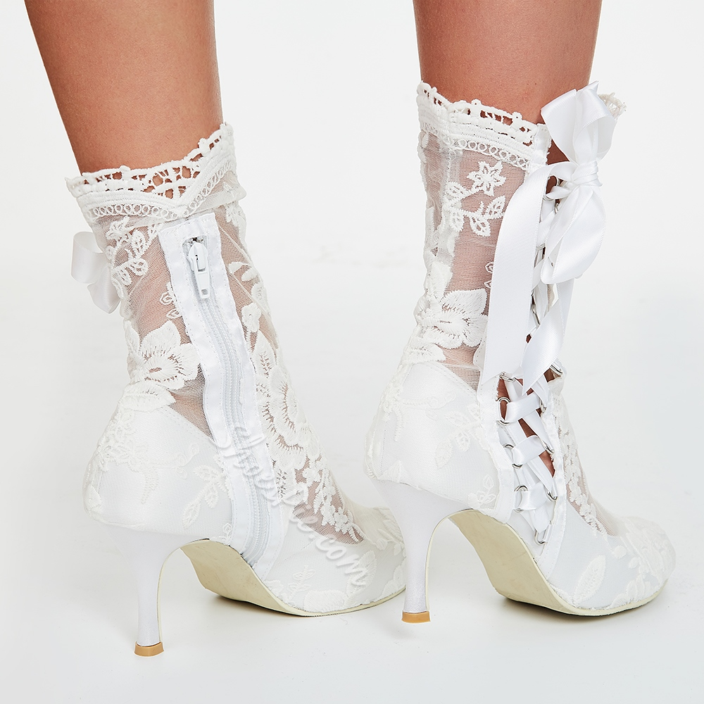 Shoespie White Lace Low Heel Bridal Shoes