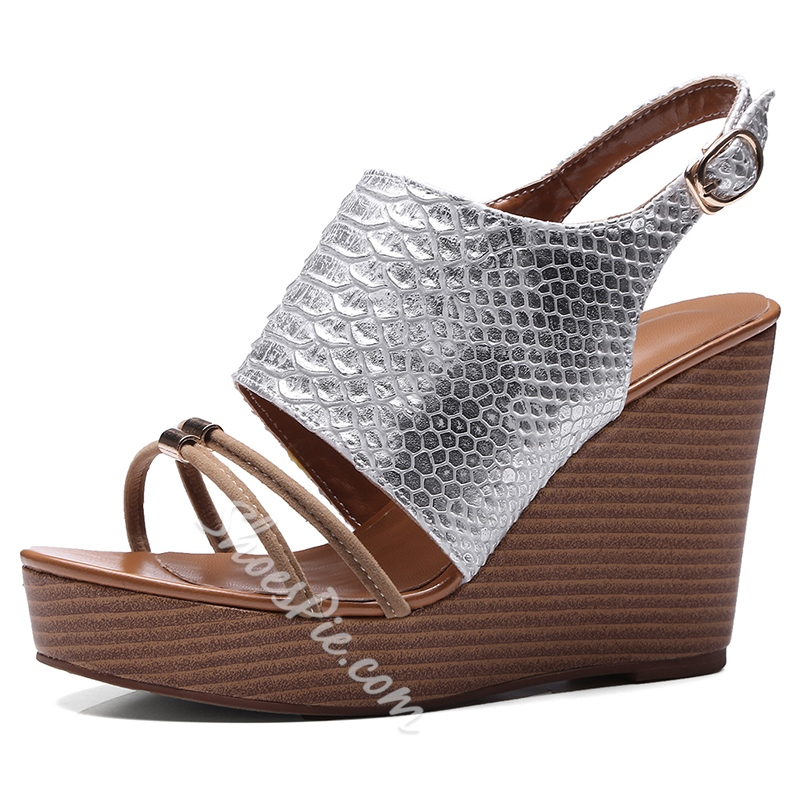 Shoespie Embossed Wedge Sandals