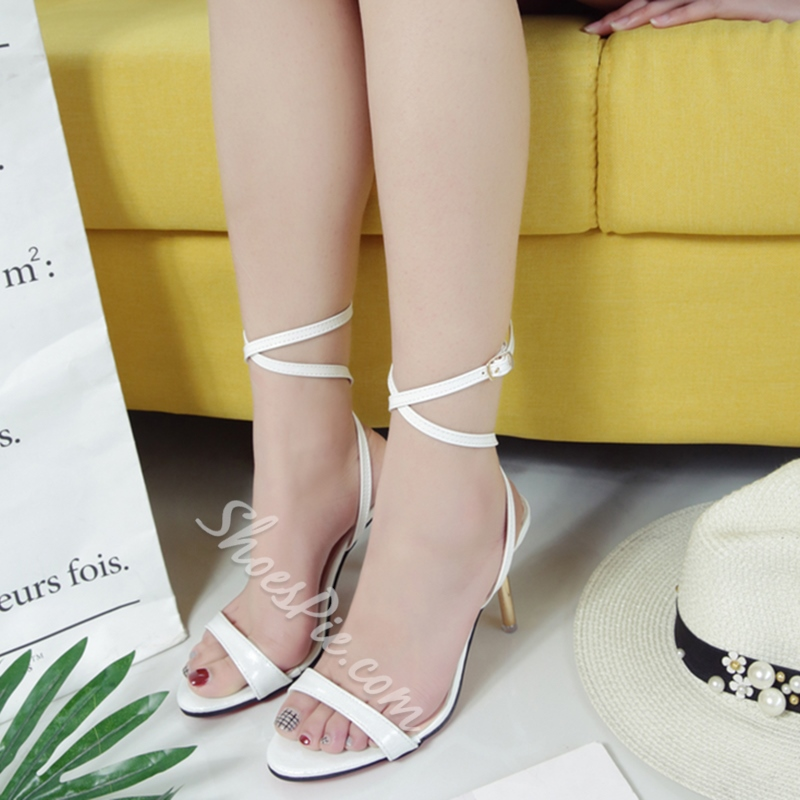 Shoespie Solid Color Ankle Lace Up Heel Sandals