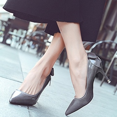 Shoespie Patent Leather Back Bow Stiletto Heels