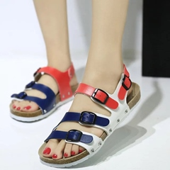 Shoespie Colorful Strappy Buckles Flat Sandals