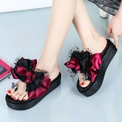 Shoespie Vintage Clip Toe Mesh Silky Slippers