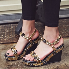 Shoespie Flower Sppliques Wedge Sandals