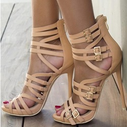 Fabulous Solid Color Zipper Cut-out Plus Size Stiletto Gladiator Sandals
