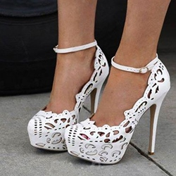 Shoespie Classy PU Cut-Outs Ankle Strap Platform Heels