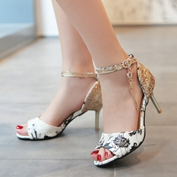 Shoespie Vintage Flora Print Dress Sandals