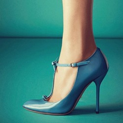 Elegant Blue Coppy Leather Pointed Toe High Heel Shoes