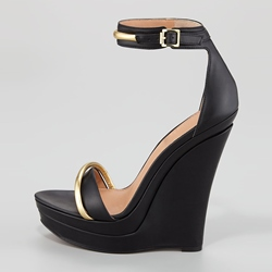Fashion Black Wedge Sandals with Ankle Strap