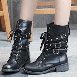 Cool Show Lace-Up Rivet Buckle Martin Boots