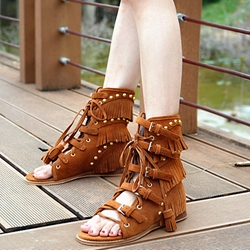 Shoespie Design Light Brown Fringe Buckle Flat Sandals