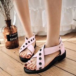 Shoespie Cute Metal Holes Flat Sandals