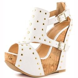 Shoespie Awesome PU Cut-Outs Rivets Wedge Sandals