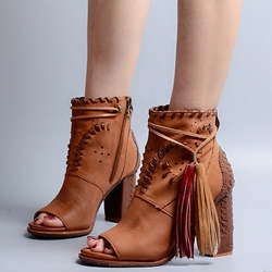 Shoespie Design Brown Weave Fringe Vintage Booties