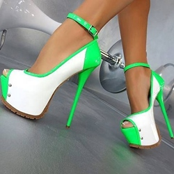 Remarkable Contrast Color Coppy Leather Platform Sandals
