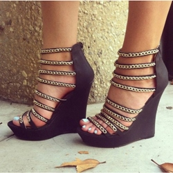 Gorgeous PU Metal Chain Wedge Sandals