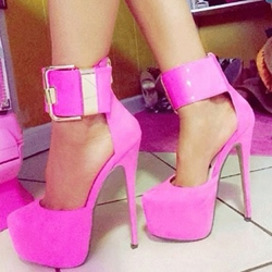 Stylish Rose Coppy Ankle Strap High Heel Shoes