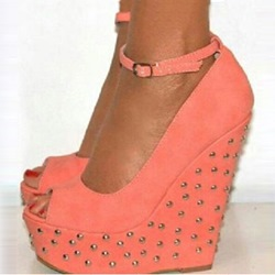 Amazing Orange Suede Rivets Peep Toe Wedge Sandals