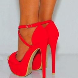 Shoespie Gorgeous Red Suede Double Ankle Strap High Heel Shoes