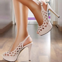 Shoespie Cut-out Solid Color Slingback Platform Sandals
