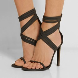 Shoespie Sexy Black Strap Stiletto Sandals