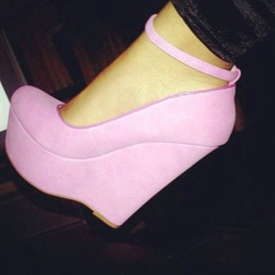 Graceful Pink Wedge Heels