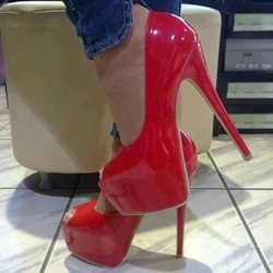 Shoespie Good-Looking Red Platform Heels