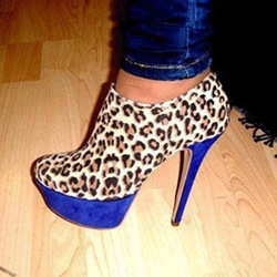 Sexy Leopard Grain Suede Stiletto Heel Ankle Boots