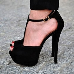 Sexy Black Suede PeepToe Ankle Strap High Heel Sandals