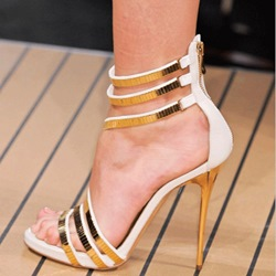 Gorgeous Contrast Color Straps Dress Sandals