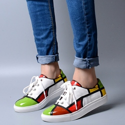 Shoespie Design Artistic Color Block Sneakers