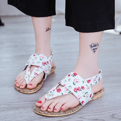 Shoespie Flora Print Cloth Thong Flat Sandals