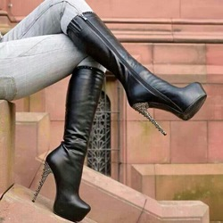Wonderful Rivets Zipper Platform Stiletto Heel Knee High Boots