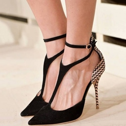 Ladylike Contrast Color Pointed-toe Heels