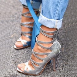 Glamorous Silver Cut-outs Dress Sandals