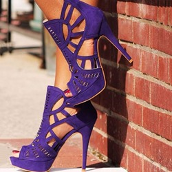 Elegant Purple Suede Party Wearing Dress Sandals