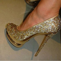 Fashionable Golden Coppy Leather Platform High Heel Shoes with Amazing Glitter