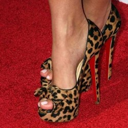 Sexy Leopard Grain Peep Toe & Bowtie Decoration High Heel Shoes