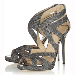 New Fashion Gray Glitter Stiletto Heel Sandals