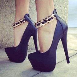 Sexy Black Metal Ankle Strap Platform High Heel Shoes
