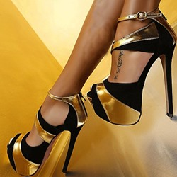 Shoespie Dramatic Contrast Color Peep-Toe Stiletto Platform Sandals