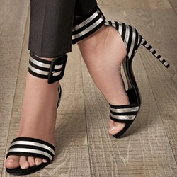 Mature ladies' Black & White Stripes Stiletto Sandals