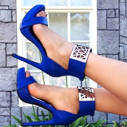 Shoespie Royal Blue Metal Ankle Wrap Dress Sandals