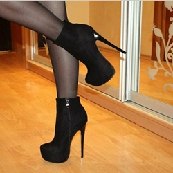 Sexy Black Suede Solid Colour Platform Ankle Boots