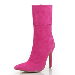 Glamorous Rose Genuine Leather High Heels Boots