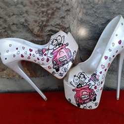 Fancy Cartoon Print Thick Platform High Heel Shoes