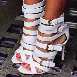 Alluring Soild Color Cut-Outs Metal Buckle Stiletto Sandals