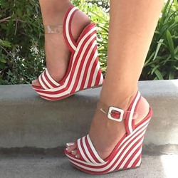 Shoespie Fancy Red & White Stripes Wedge Sandals
