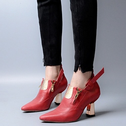 Shoespie Design Pointed Toe Mid Heel Spring Pumps
