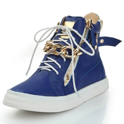 Blue Lace-Up Cowhide Sneaker