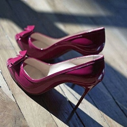 Gorgeous Rose Red Coppy Leather Bowtie Decoration High Heel Shoes
